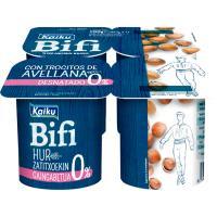 Yogur Bifi 0% con avellanas KAIKU, pack 4x125 g