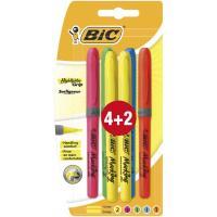 Marcador fluorescente 5 colores Brite Liner Grip BIC, pack  4+2uds