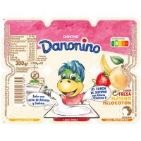 Danonino de fresa-melocotón-plátano DANONE, pack 6x50 g