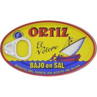 Bonito del norte en aceite bajo en sal ORTIZ, lata 112 g