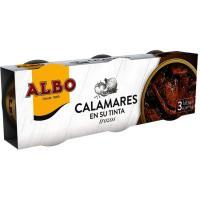 Calamar en trozos en su tinta ALBO, pack 3x65 g