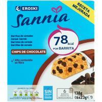 Barritas de chocolate EROSKI Sannia, caja 138 g