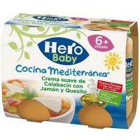Crema suave de calabacín-jamón-queso HERO, pack 2x190 g