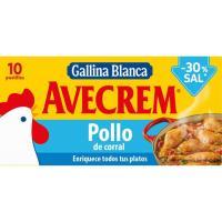 Caldo de pollo natural -30% sal AVECREM, caja 10 unid.