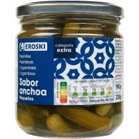 Pepinillos sabor anchoa EROSKI, frasco 190 g