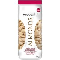 Almendras al natural peladas WONDERFUL, bolsa 200 g