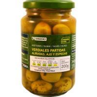 Aceitunas verdial con ajo-especias EROSKI, frasco 200 g