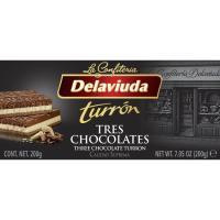Turrón 3 chocolates DELAVIUDA, caja 300 g