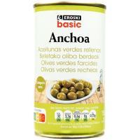Aceitunas rellenas de anchoa EROSKI, lata 150 g