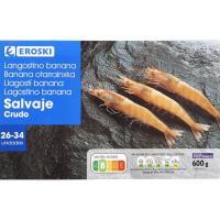 Langostino salvaje rudo 26/34 mediano EROSKI, caja 600 g
