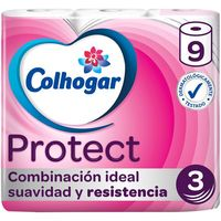 Papel higiénico COLHOGAR Protect, paquete 9 rollos