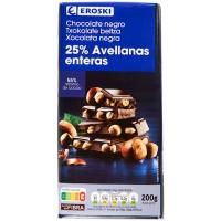 Chocolate negro-avellanas EROSKI, tableta 200 g