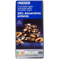 Chocolate negro con almendras EROSKI Garden, tableta 200 g