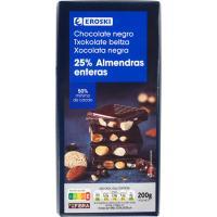 Chocolate negro con almendras EROSKI, tableta 200 g