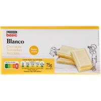Chocolate blanco EROSKI basic, tableta 75 g