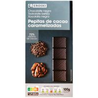 Chocolate 72% cacao-pepitas EROSKI, tableta 100 g