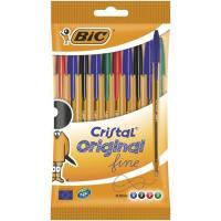 Bolígrafo colores: 4azul, 2negro, 2rojo, 2verde, punta 0.8mm Cristal BIC, 10uds
