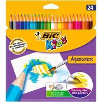 Lápices de colores surtidos acuarelables Kids Aquacouleur BIC, Caja 24 uds