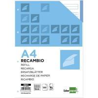 Recambio A4 cuadriculado, 4 taladros, bandas 5 colores,120hojas LIDERPAPEL, 1 ud