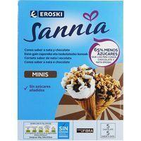 Miniconos nata-chocolate EROSKI Sannia, pack 10x28 ml