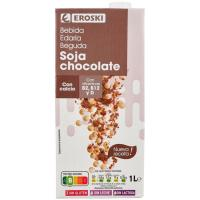 Bebida de soja-chocolate EROSKI, brik 1 litro