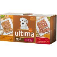 Alimento de buey-pollo perro mini senior ULTIMA, pack 4x150 g