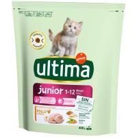 Alimento de pollo para gato junior 2-12 m. ULTIMA, paquete 400 g
