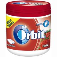 Chicle de fresa en gragea ORBIT, bote 84 g