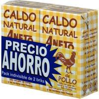 Caldo natural de pollo ANETO, pack 2x1 litro