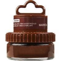 Crema marrón para calzado EROSKI, tarro aplicador 1 ud.