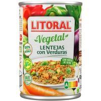 Lentejas con verduras LITORAL, lata 430 g