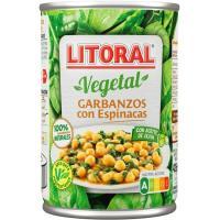 Garbanzos con espinacas LITORAL, lata 425 g