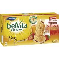 Galleta Belvita sandwich de yogur-fresa FONTANEDA, caja 253 g
