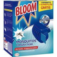 Antimosquitos eléctrico BLOOM, aparato + 10 pastillas