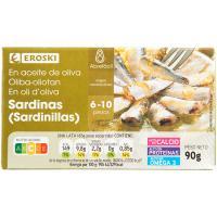 Sardinilla en aceite de oliva EROSKI, lata 90 g