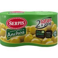 Aceitunas rellenas de anchoa SERPIS, pack 2x85 g