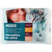 Bocaditos en salsa pouches para gato EROSKI, pack 4x85 g