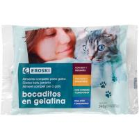 Bocaditos en gelatina pouches para gato EROSKI, pack 4x85 g