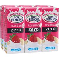 Batido de fresa-plátano DON SIMON, pack 6x200 ml