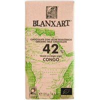 Chocolate con leche 42% ecológico del Congo BLANXART, 125 g