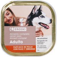 Paté de pollo para perro EROSKI, lata 300 g