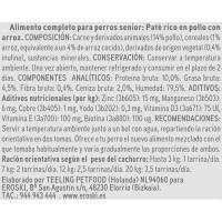 Paté de pollo para perro senior EROSKI, lata 300 g