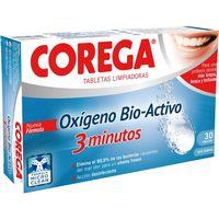 Tabletas limpiadoras oxigeno Bio-Activo COREGA, caja 30 unid.