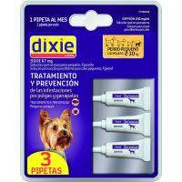 Pipeta fipronil para perro pequeño 2-10 kg DIXIE, pack 3 uds.