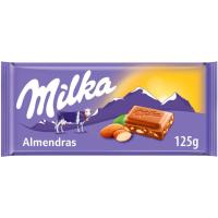 Chocolate con almendras MILKA, tableta 125 g