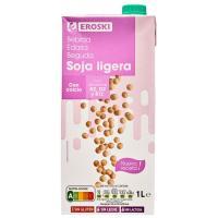 Bebida de soja calcio ligera EROSKI, brik 1 litro