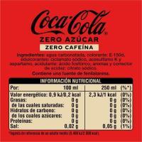 Refresco de cola sin cafeína COCA COLA ZERO ZERO, botellín 50 cl
