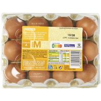 Huevo fresco M EROSKI, cartón 12 unid.
