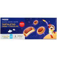 Tartaleta rellena de crema-chocolate EROSKI, bandeja 235,80 g