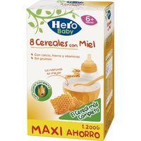 Papilla 8 cereales con miel HERO, caja 1.200 g